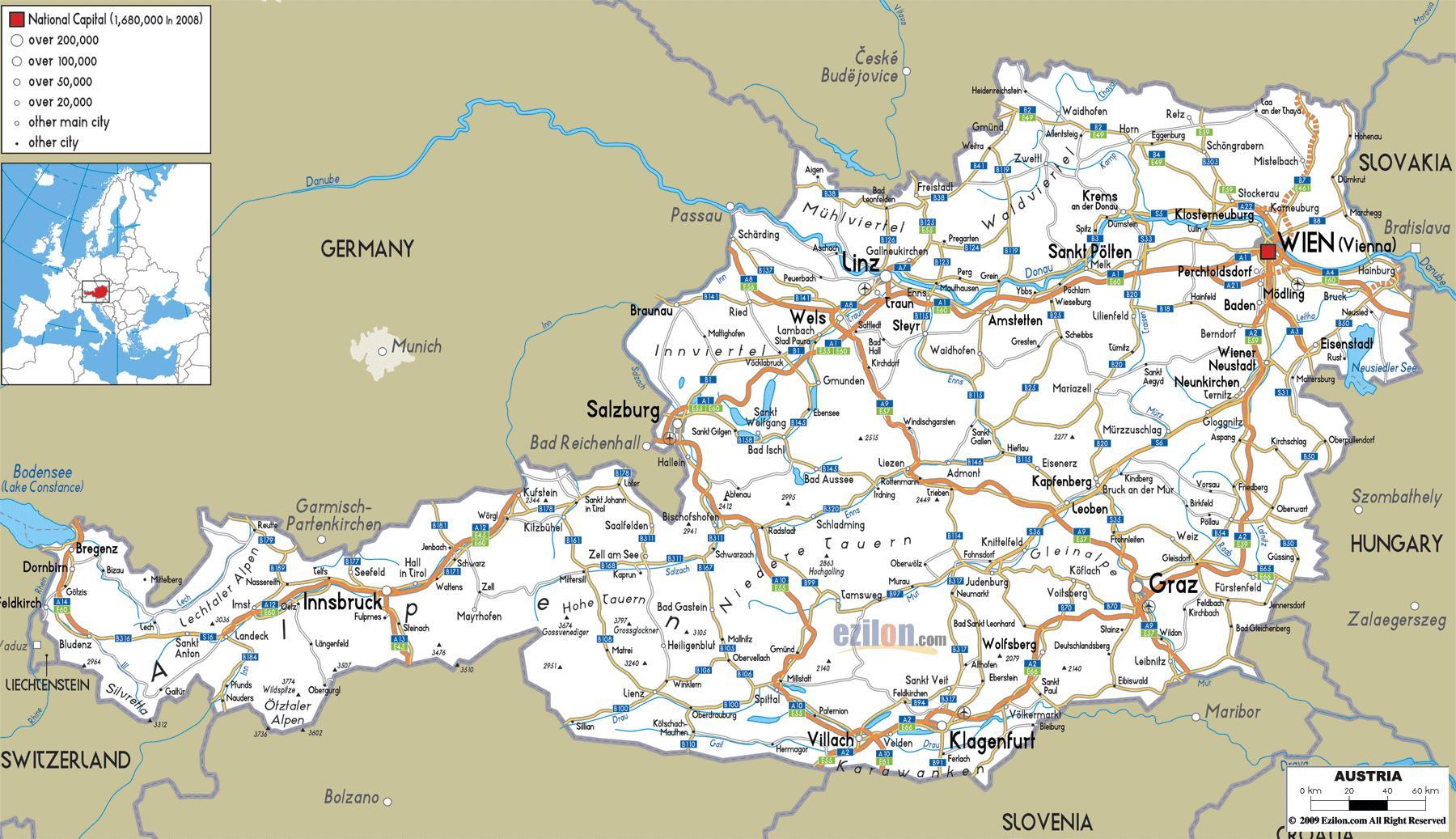 Rakousko Mest Mapa Podrobna Mapa Rakouska S Mesty Zapadni Evropy