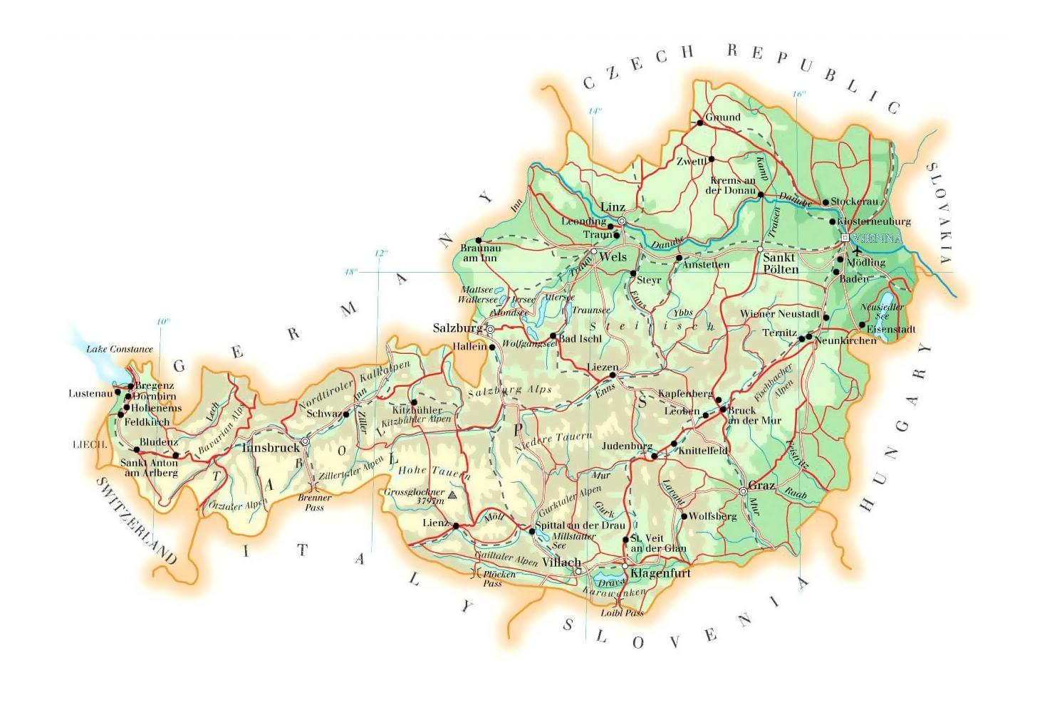 Rakousko Vyskova Mapa Mapa Rakousko Nadmorska Vyska Zapadni