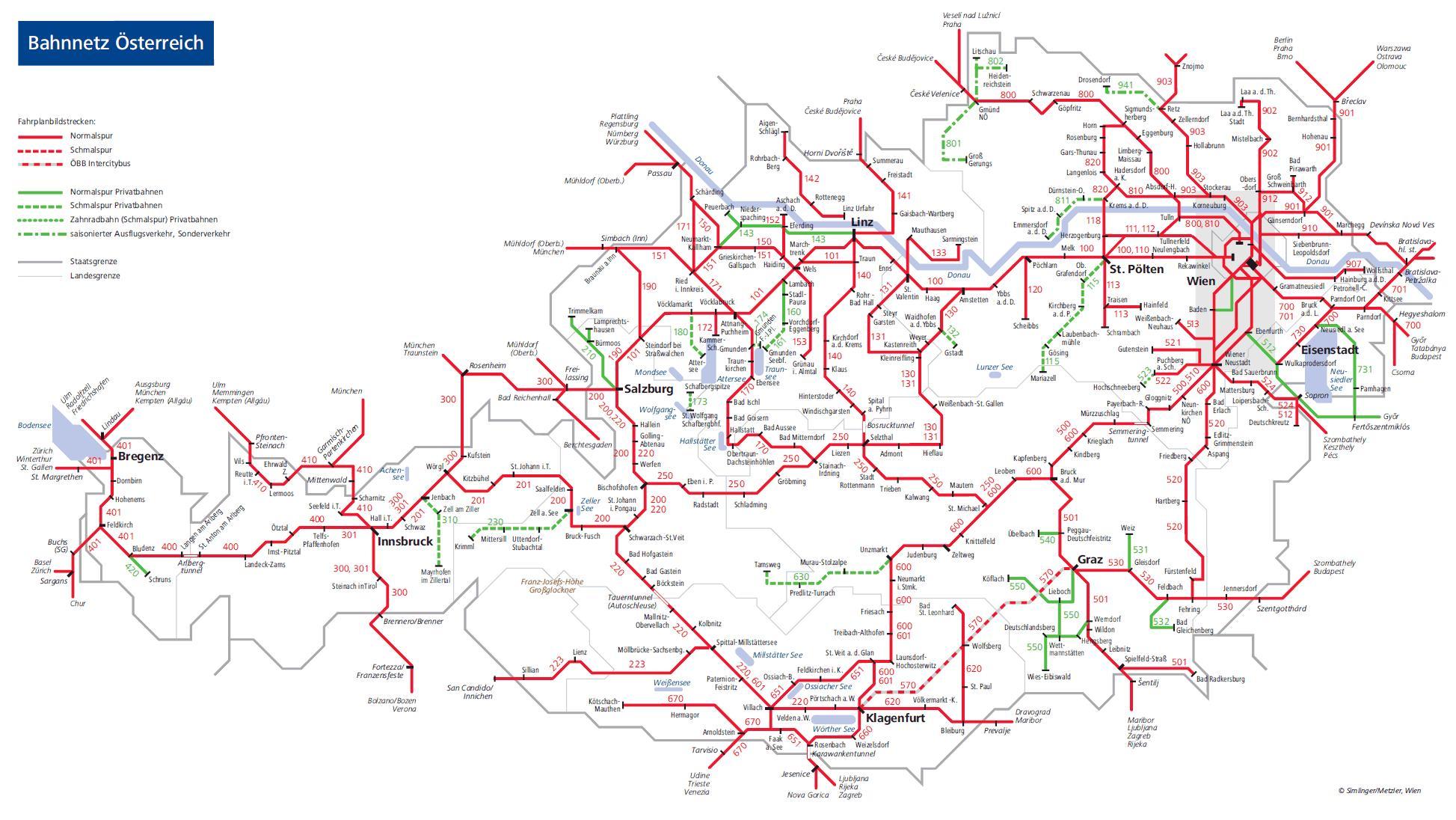 Rakousko Vlak Mapa Obb Rakouske Zeleznicni Mapa Zapadni Evropa