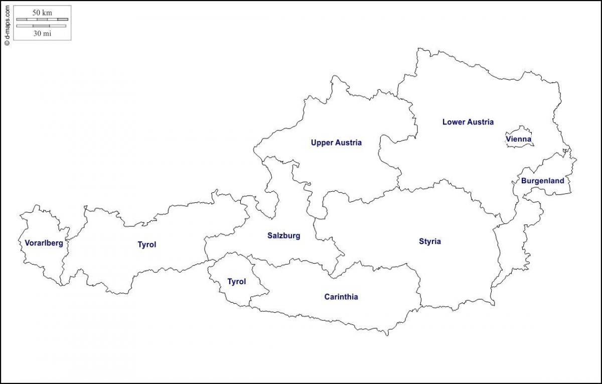 Rakousko Prazdne Mape Slepa Mapa Rakousko Zapadni Evropa Evropa